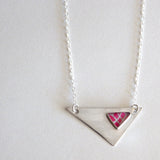 pink asymmetrical triangle necklace