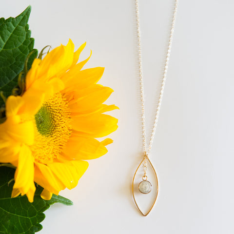Hammered pointed oval leaf long necklace with paper bead in 10 color options and sterling silver or 14k gold filled by Blossom and Shine