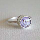 purple coiled paper bead ring