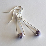 purple paper bead earrings