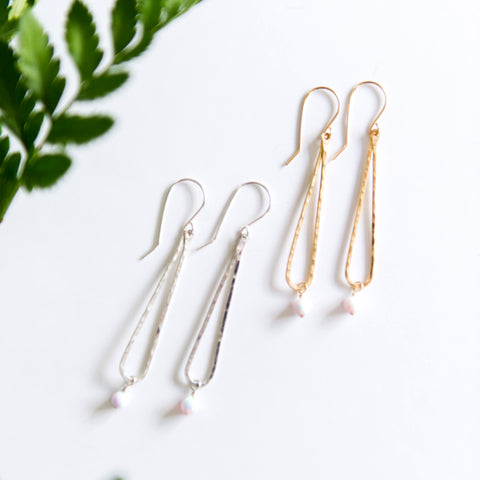 Opal bead dainty raindrop earrings in sterling silver or 14k gold filled by Blossom and Shine