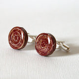 burgundy paper cuff links