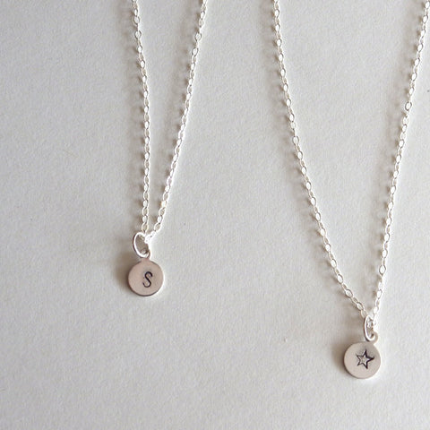 Personalized stamped charm necklace with letter or symbol in sterling silver by Blossom and Shine