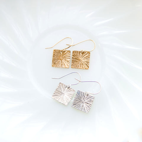 star burst square earrings in sterling silver or 14k gold filled by Blossom and Shine