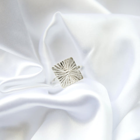 star burst square ring in sterling silver or 14k gold filled by Blossom and Shine