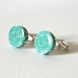 teal paper cuff links
