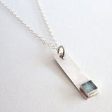 teal sterling silver bar necklace