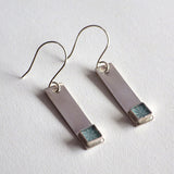 teal silver bar earrings