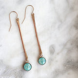 teal long paper bead earrings