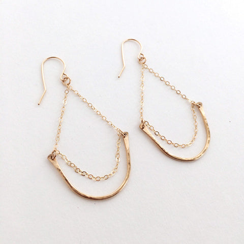 Dainty hammered teardrop dangle earrings in sterling silver or 14k gold filled by Blossom and Shine