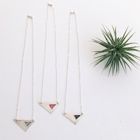 asymmetrical triangle necklaces