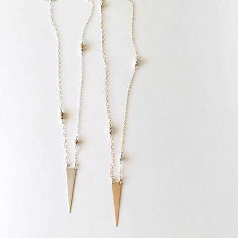 Long mixed metal triangle spike necklace in sterling silver or 14k gold filled by Blossom and Shine