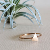 Dainty hammered triangle stacking ring in sterling silver or 14k gold filled by Blossom and Shine