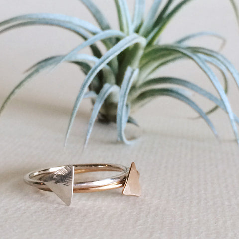 dainty triangle rings sterling silver and 14k gold filled
