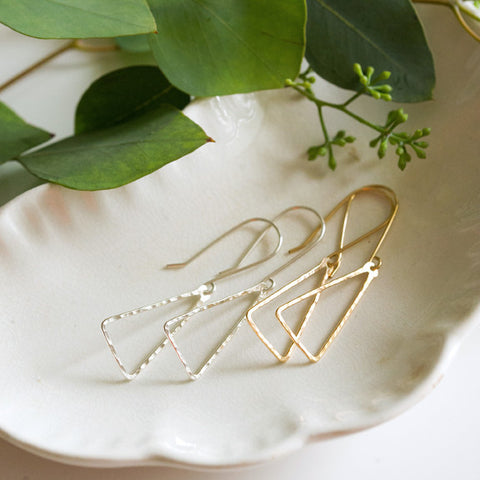 Hammered Open Triangle Earrings