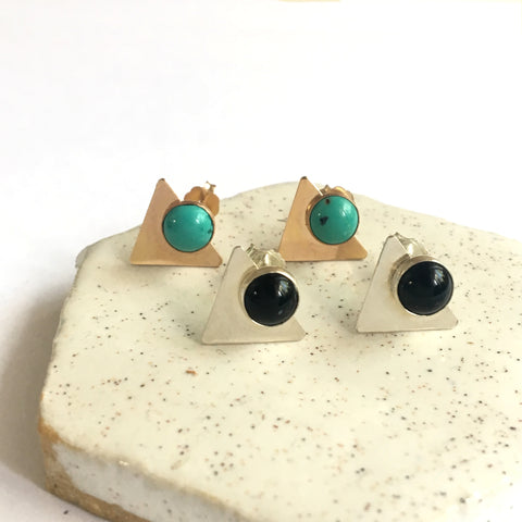 Triangle stone stud earrings in sterling silver or 14k gold filled with onyx or turquoise gemstone by Blossom and Shine
