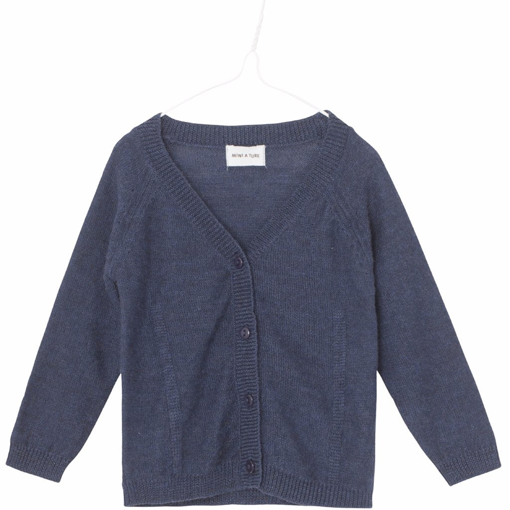 Image of   Mini A Ture - Uld Cardigan, Beline - Mood Indigo