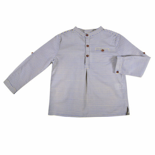 Bonnet à Pompon - Baby Boy Shirt - Yellow/Blue