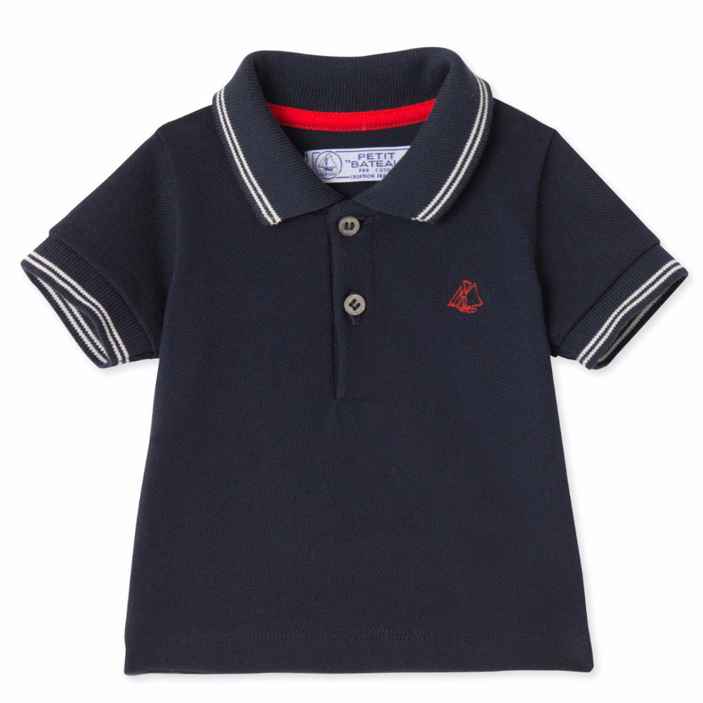 Petit Bateau - T-shirt, Baby Polo MC - Smoking blue