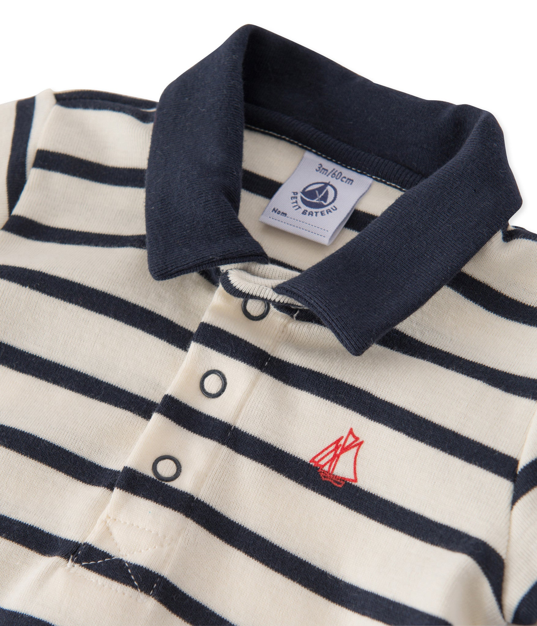 Petit Bateau - T-shirt, Baby Polo MC - Coquille beige / Smoking blue