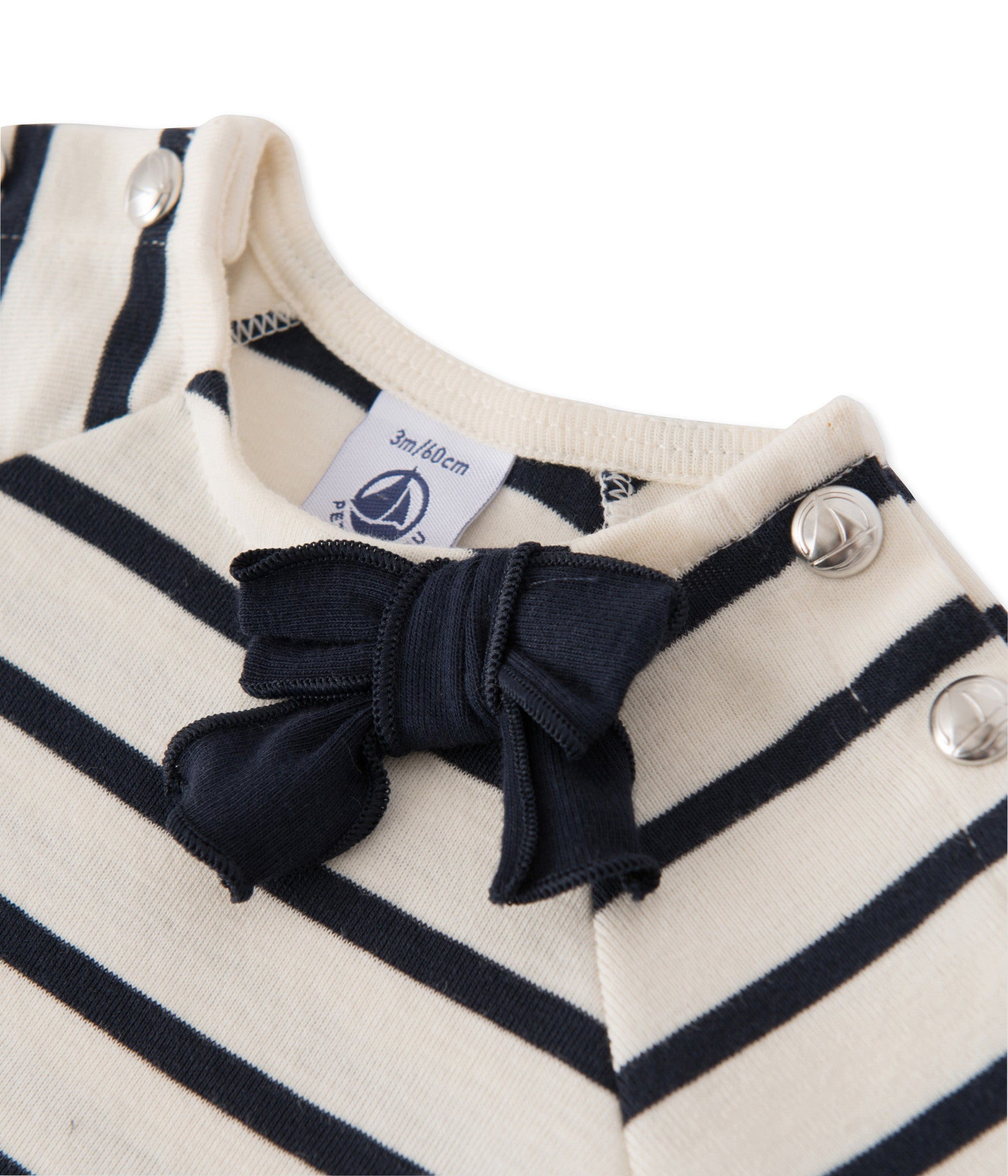 Petit Bateau - T-shirt, Baby Sailor Tee - Coquille beige / Smoking blue