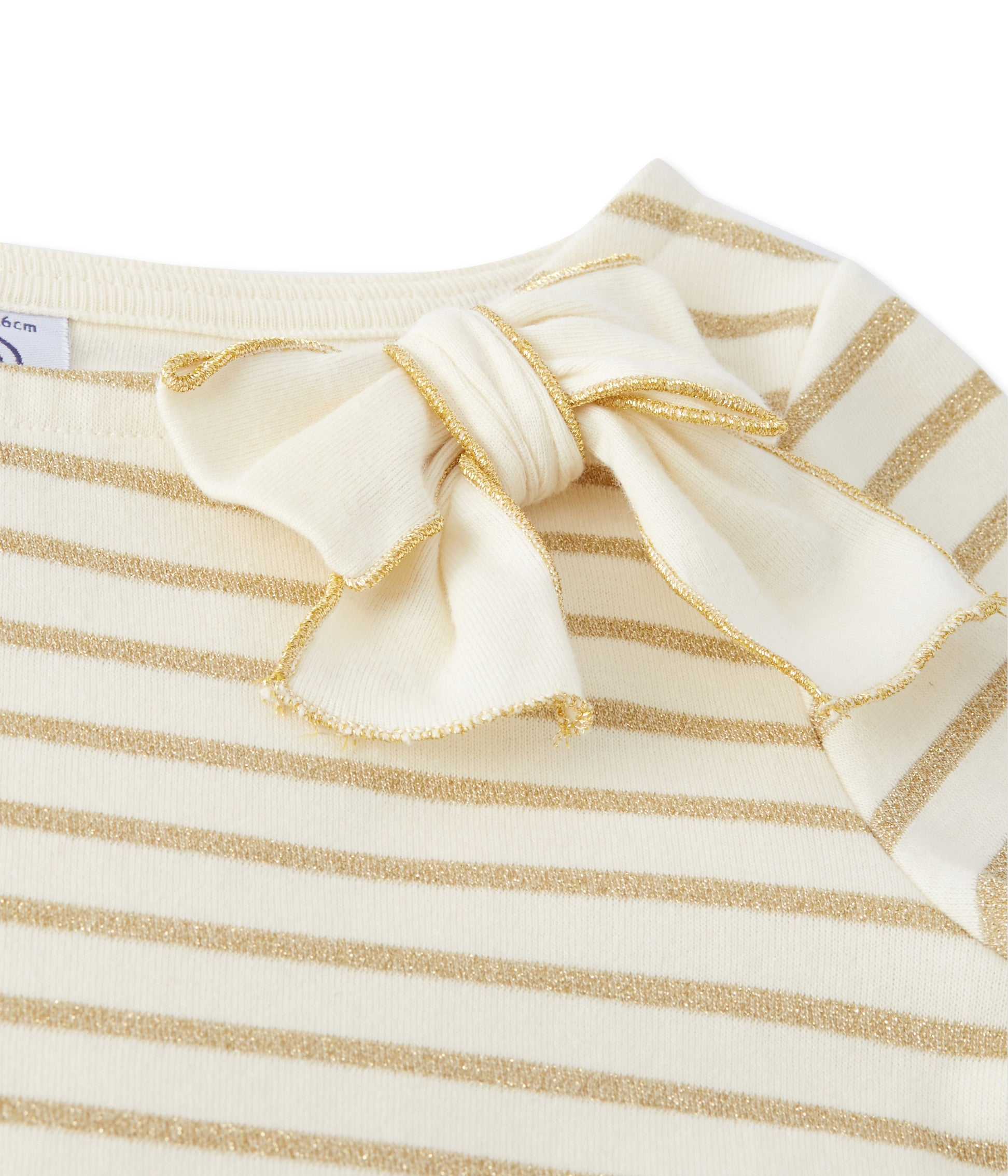 Petit Bateau - Bluse, Girls Shiny Sailor Top - Coquille Beige / Lurex Dore Yellow