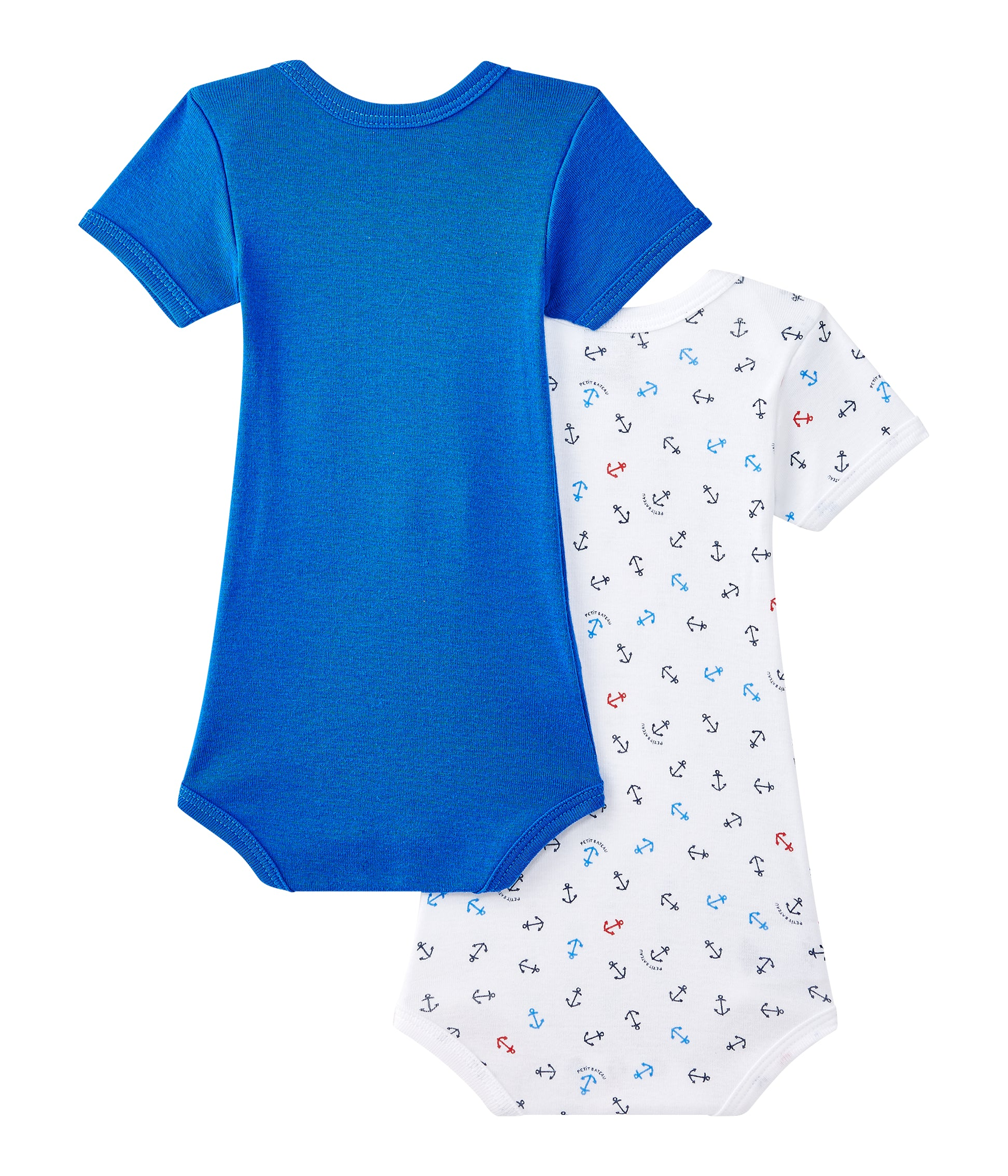 Petit Bateau - Bodies, Baby Boy SS, 2-pak - Blue / Anchor