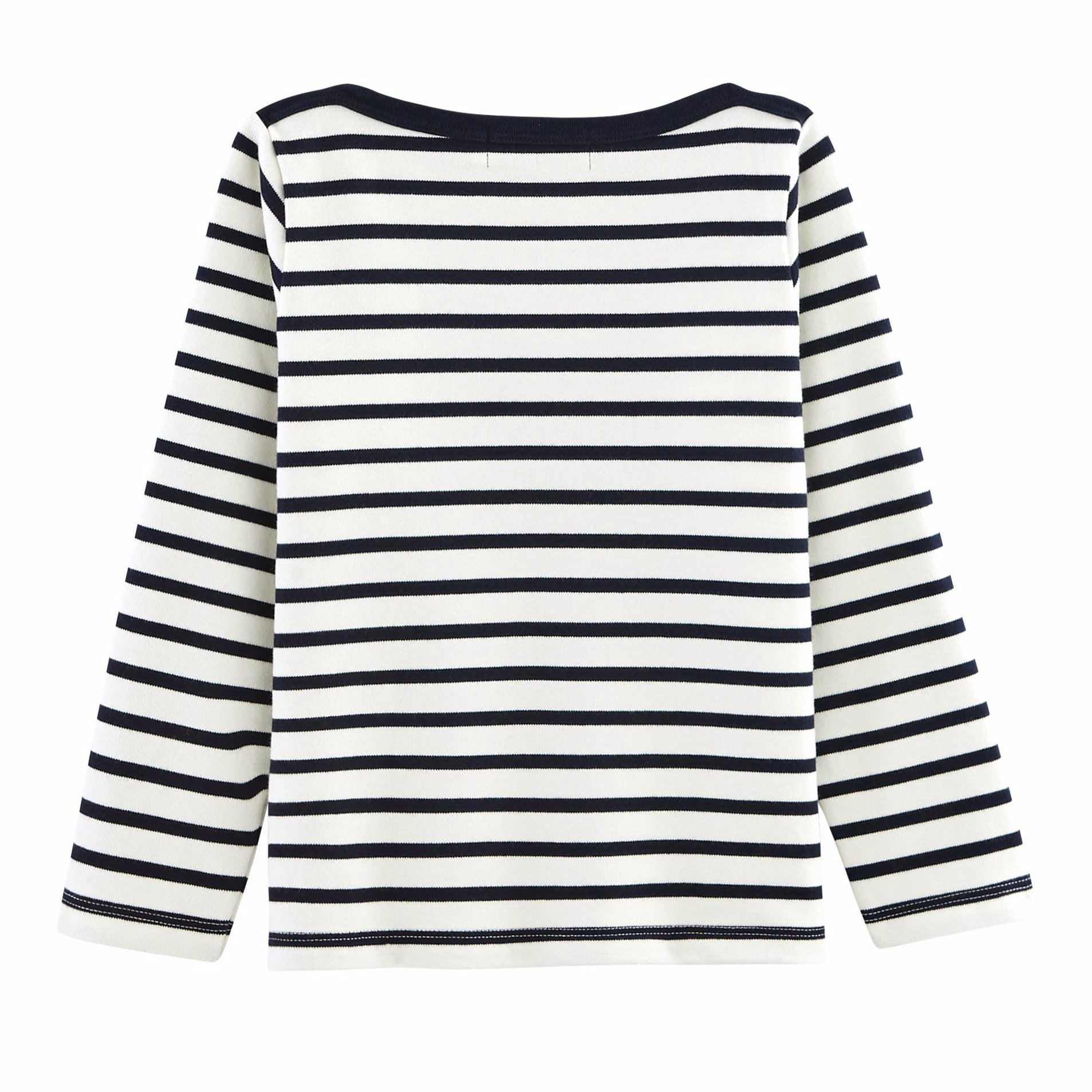 Petit Bateau - Bluse, Sailor Top (Unisex) - Coquille Beige / Smoking Blue