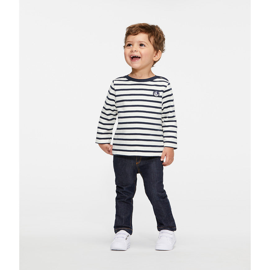 Petit Bateau - Bluse, Baby Sailor Top (Unisex) - Coquille Beige / Smoking Blue