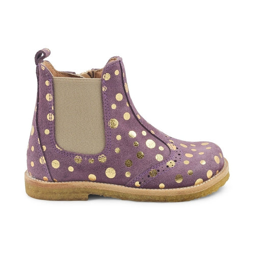 Pom Pom - Broque Zip Chelsea Boot, 6395 - Purple Gold Dot