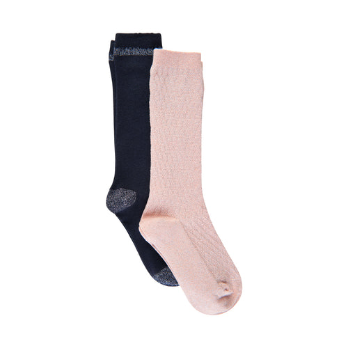Creamie - Knee Socks 2-pack (821377) - Rose Smoke / Total Eclipse