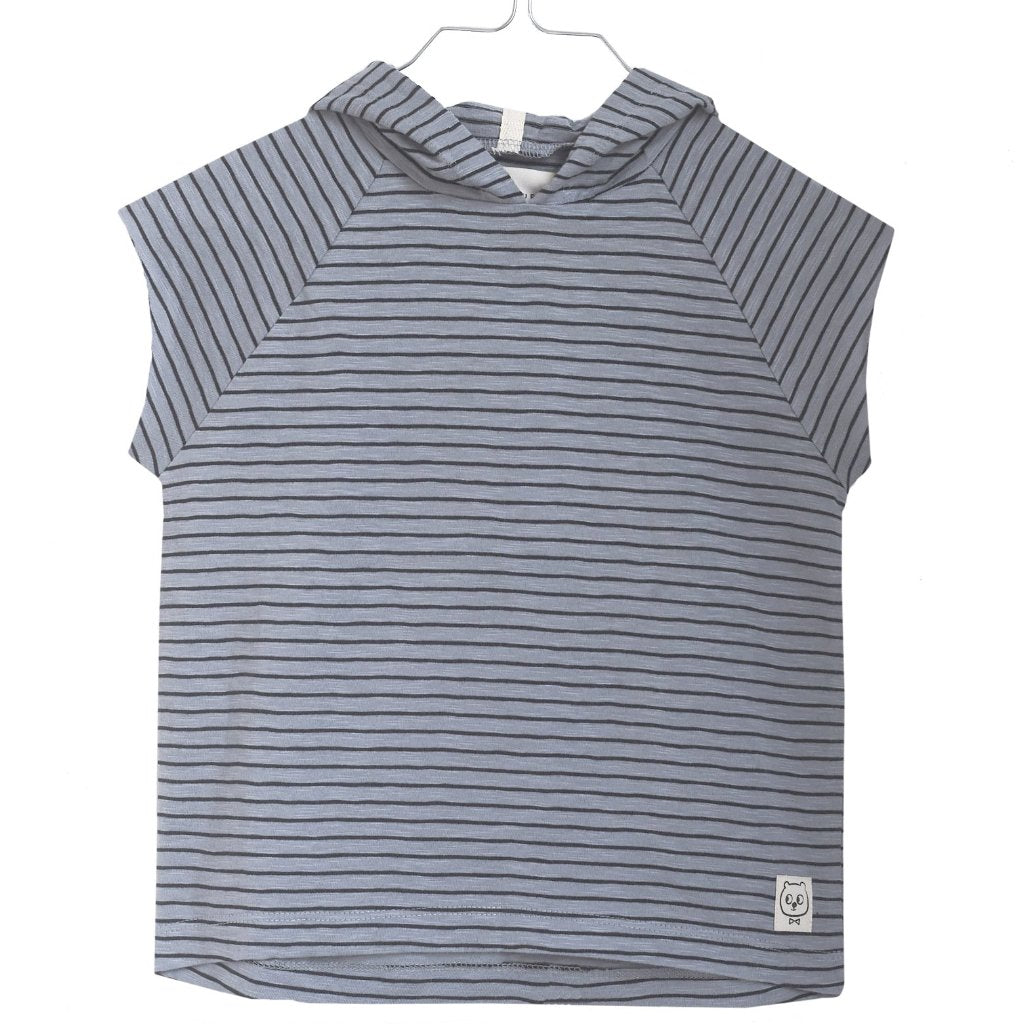 Monsieur Mini - T-shirt Hoodie, Striped - Dark Seafoam / Black