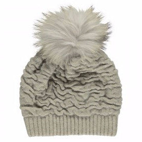 Natures Collection - Hue m. pels kvast, Sidse Beanie - Pearl Grey/Pearl Grey