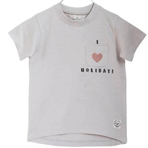 Monsieur Mini - T-shirt SS, I Love Holiday - Offwhite