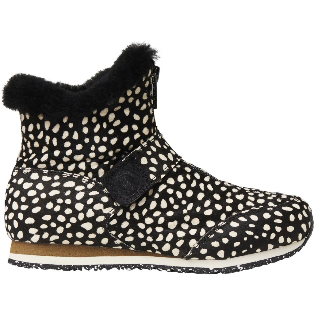 Woden Wonder - Odina Zipper Animal Boot Kids - Black / Off White