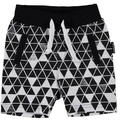 Lucky No.7 - White Geo Shorts - Black / White