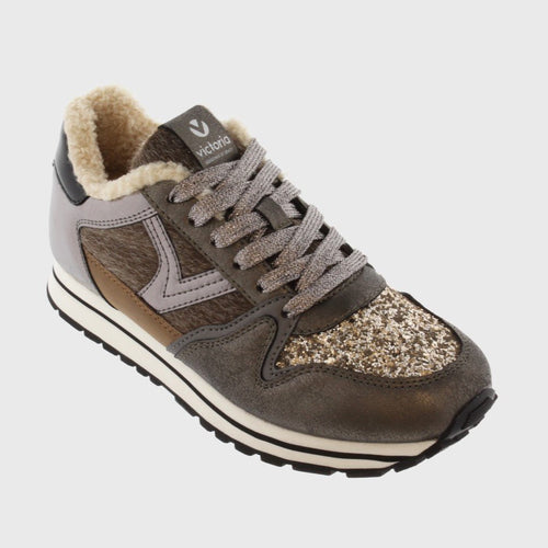 Victoria Shoes - Cometa Sheep Multimaterial Sneaker - Antracita