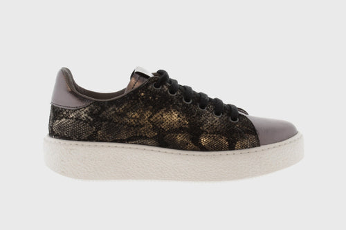 Victoria Shoes - Utopia Relieve Sneaker - Grey Metallic / Snake Print