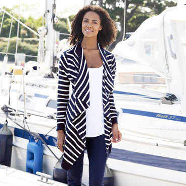 Breton Navy Stripe 4-in-1 Cardigan