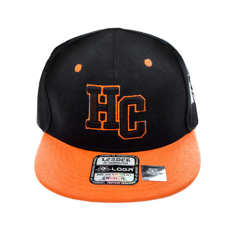 HeadCoach Snapback Baseball Black Cap Orange Brim Logo