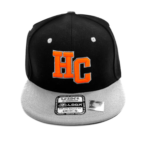 HeadCoach Snapback Baseball Black Cap Gray Brim Orange Logo