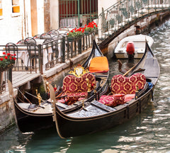Red Cushions on Gondolas in Venice