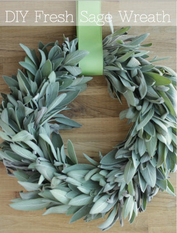 sage wreath with green ribbon