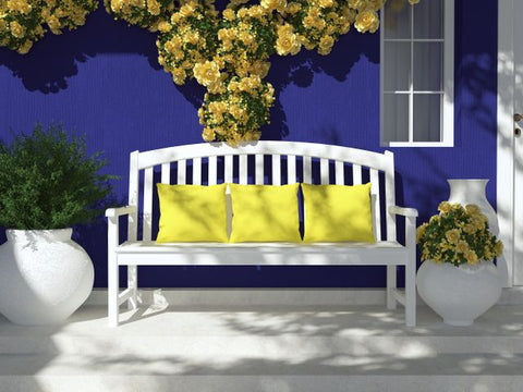 A blue colored garden wall with yellow roses and a white bench