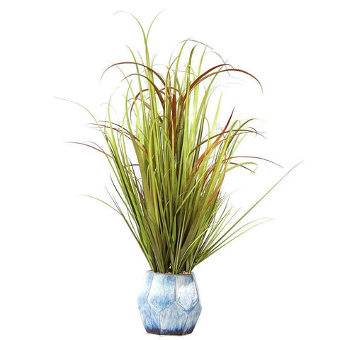 Fake Onion Grass in Marbled Blue Planter