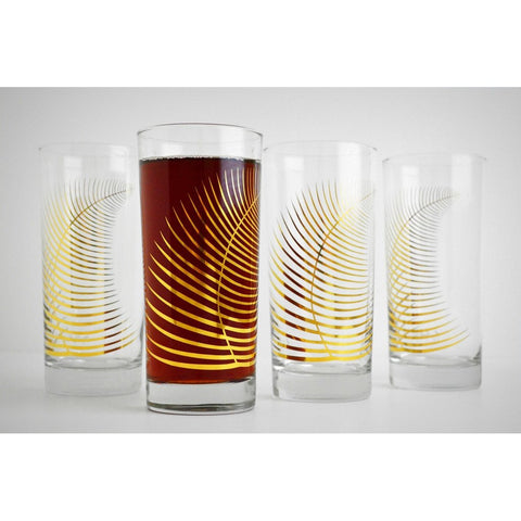 Hand=painted gold fern drinking glasses