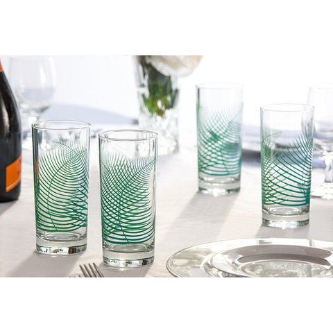Hand-painted green fern drinking glasses