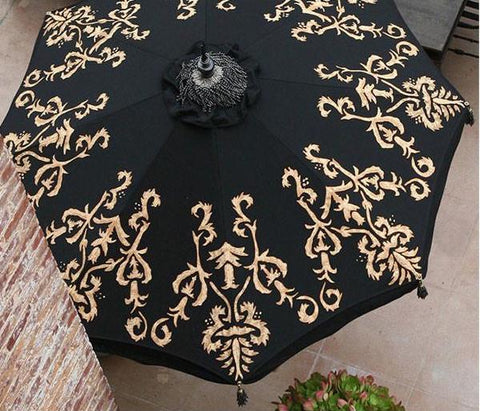 The Isabel Patio Umbrella - Black with Hand-Painted Gold Design