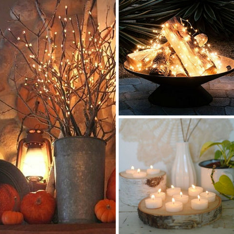 Enhance your decor with string lights and candlelight