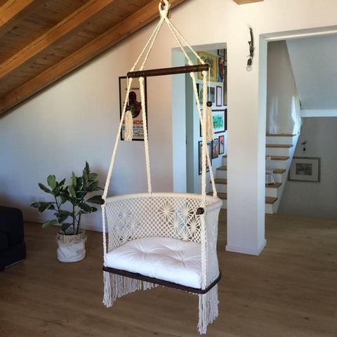 Hanging Macrame Swing Chair in Cream with Cream Cushion